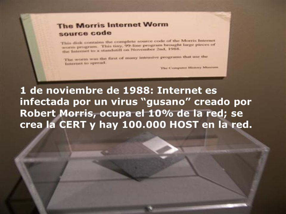 1 de noviembre de 1988: Internet es infectada por un virus gusano creado por Robert Morris, ocupa el 10% de la red; se crea la CERT y hay 100.000 HOST en la red.