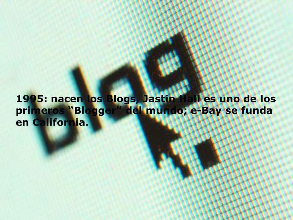 1995: nacen los Blogs, Jastin Hall es uno de los primeros Blogger del mundo; e-Bay se funda en California.