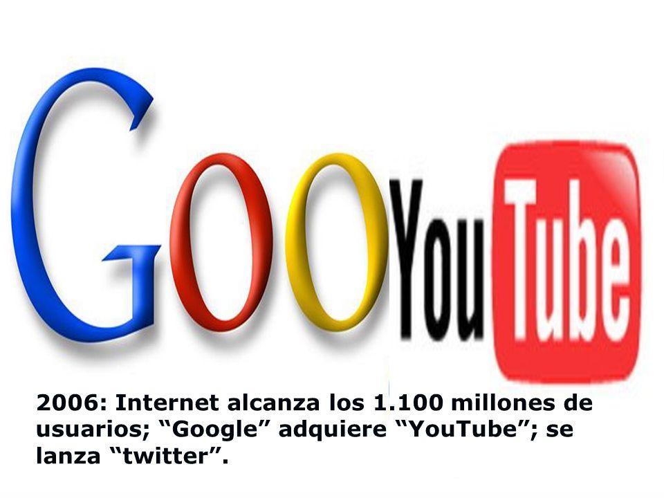 2006: Internet alcanza los 1.100 millones de usuarios; Google adquiere YouTube ; se lanza twitter .