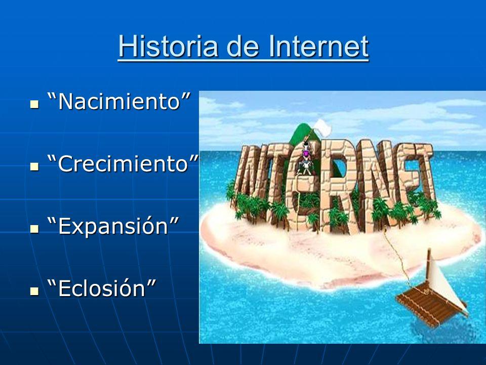 Historia de Internet Nacimiento Crecimiento Expansión Eclosión