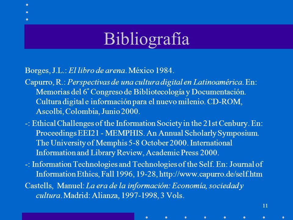 Bibliografía Borges, J.L.: El libro de arena. México 1984.