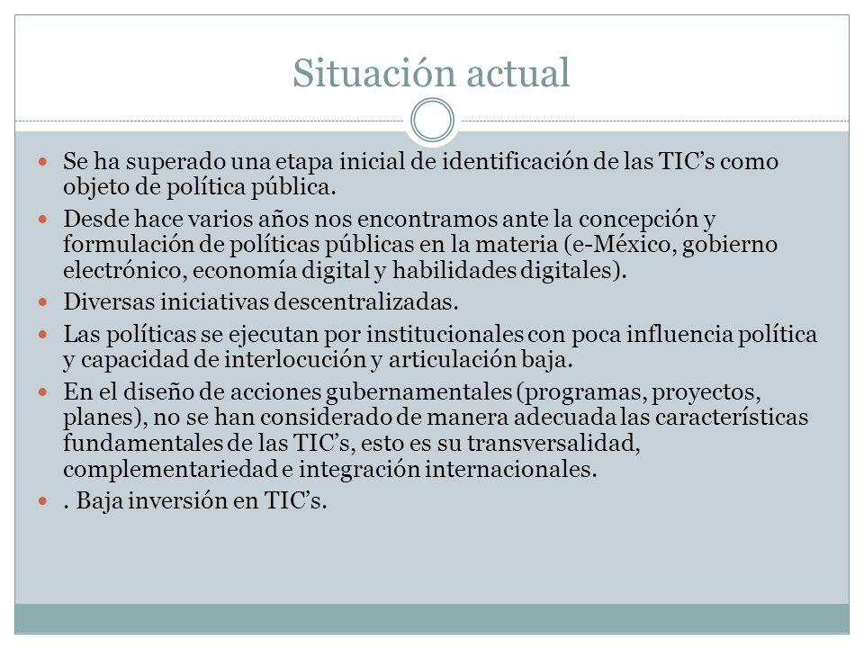Situación actual Se ha superado una etapa inicial de identificación de las TIC's como objeto de política pública.