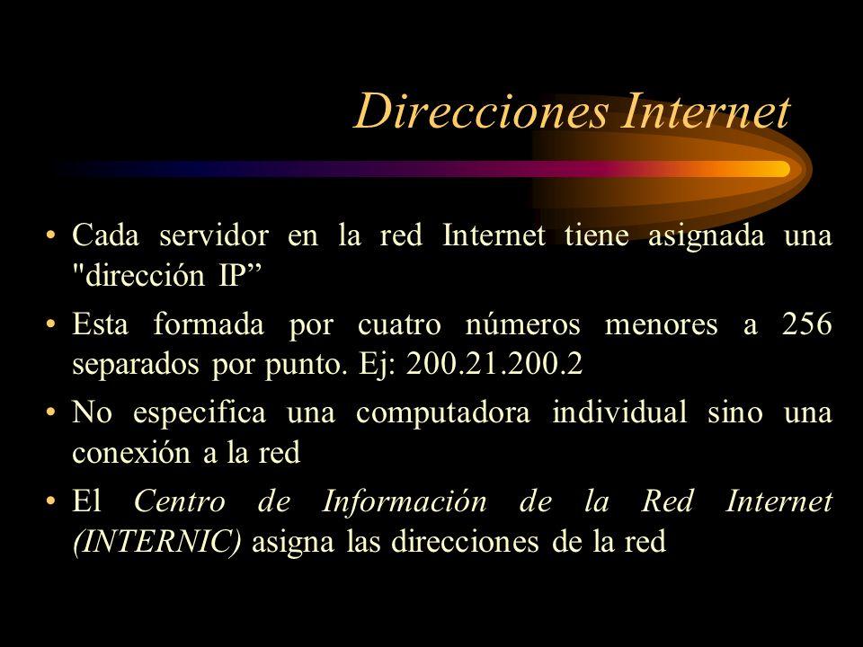Direcciones Internet Cada servidor en la red Internet tiene asignada una dirección IP
