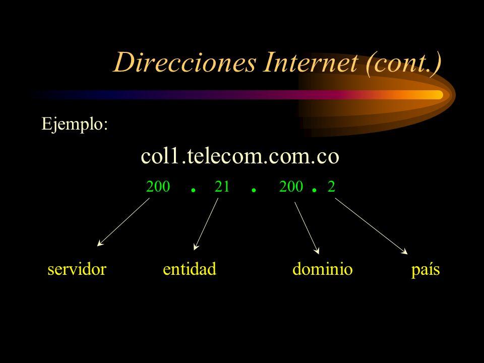 Direcciones Internet (cont.)