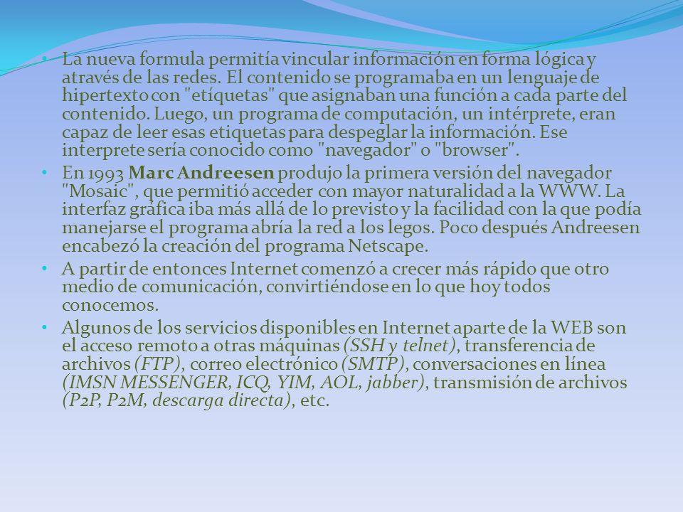 La nueva formula permitía vincular información en forma lógica y através de las redes. El contenido se programaba en un lenguaje de hipertexto con etíquetas que asignaban una función a cada parte del contenido. Luego, un programa de computación, un intérprete, eran capaz de leer esas etiquetas para despeglar la información. Ese interprete sería conocido como navegador o browser .