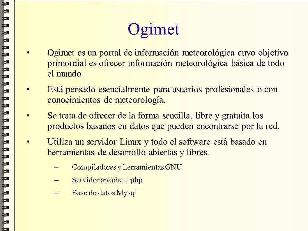 Ogimet Ogimet es un portal de información meteorológica cuyo objetivo primordial es ofrecer información meteorológica básica de todo el mundo.