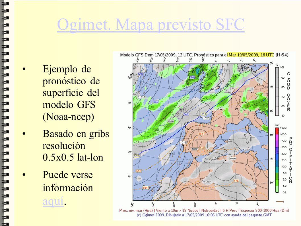 Ogimet. Mapa previsto SFC