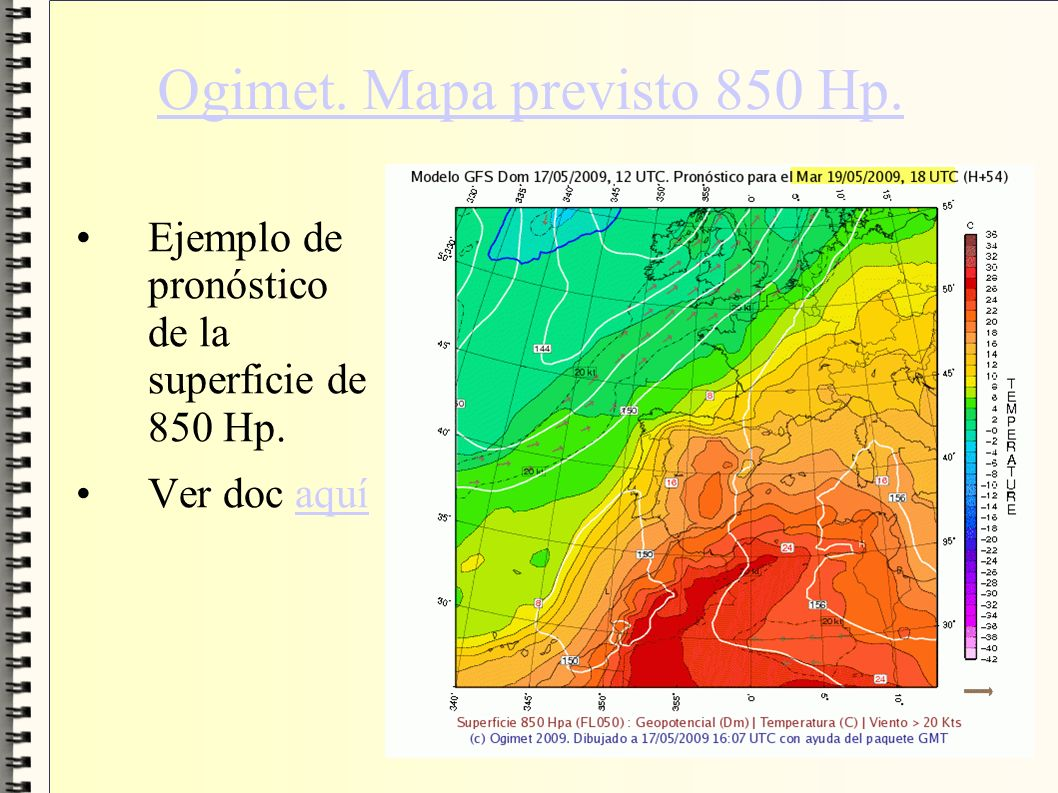Ogimet. Mapa previsto 850 Hp.