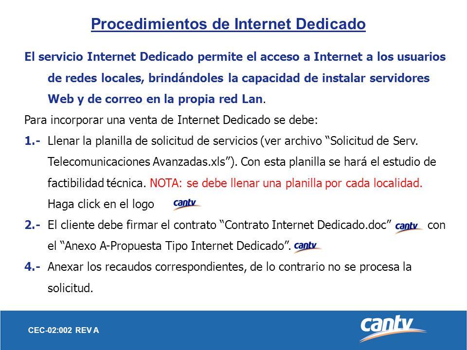 Procedimientos de Internet Dedicado