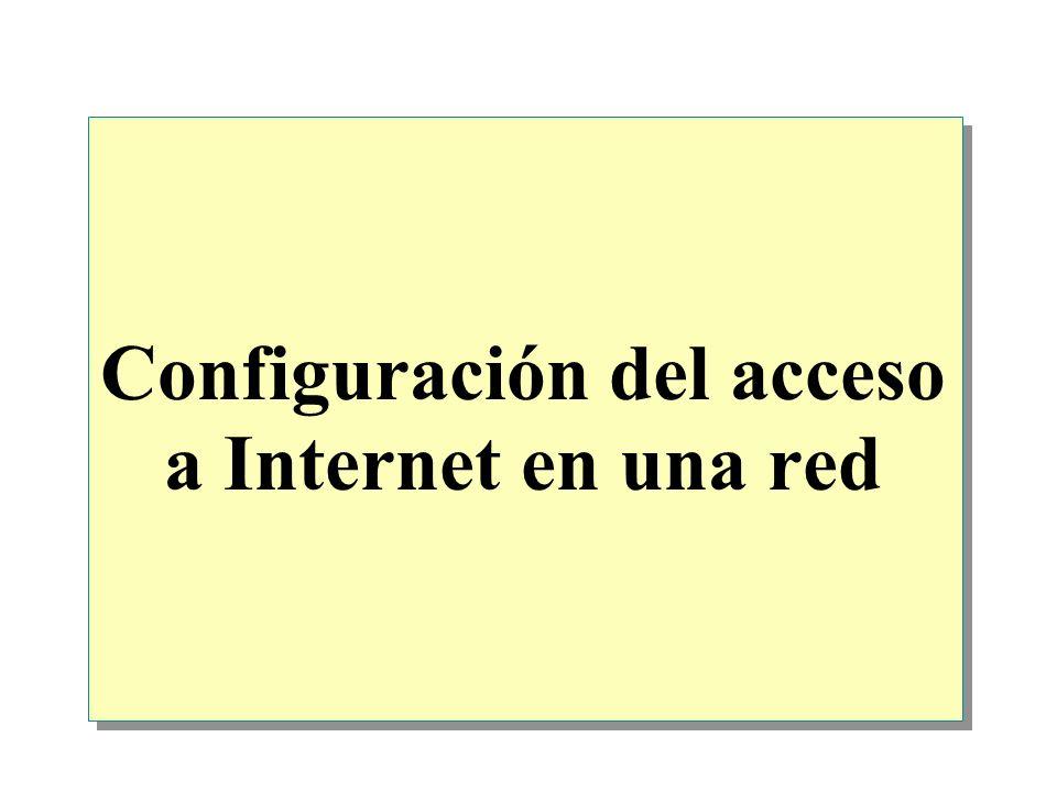 Configuración del acceso a Internet en una red