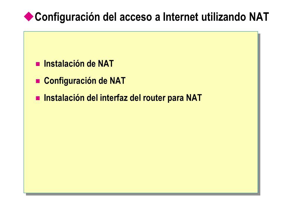 Configuración del acceso a Internet utilizando NAT