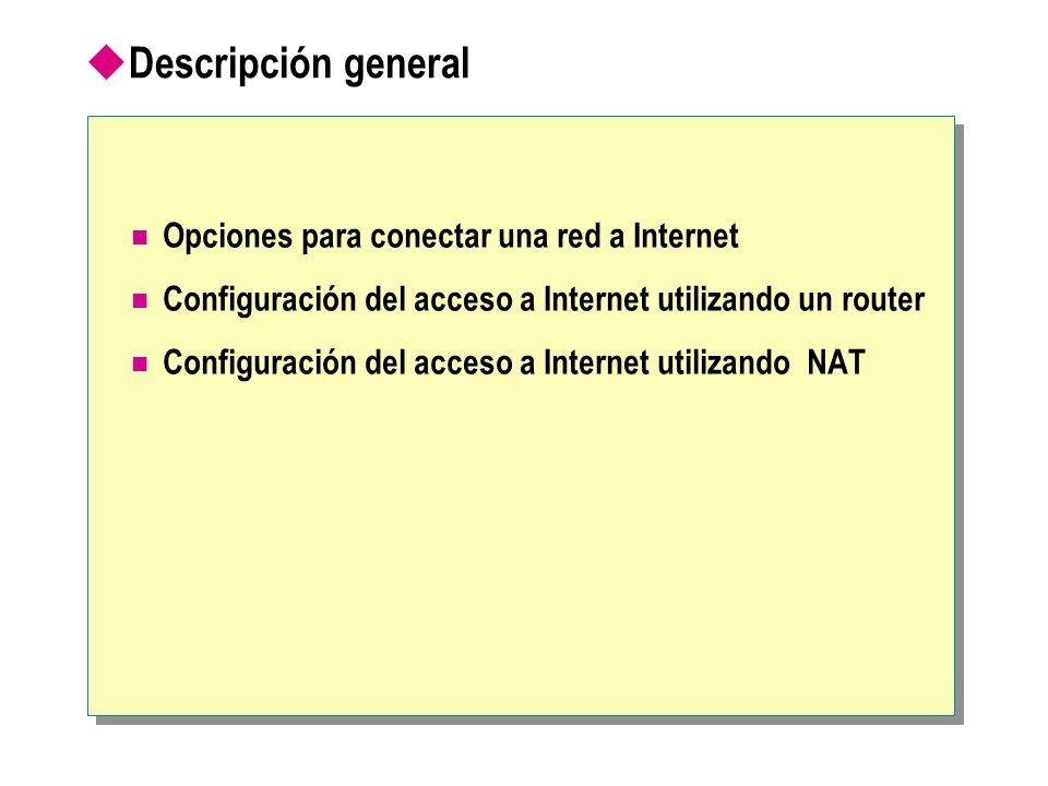 Descripción general Opciones para conectar una red a Internet