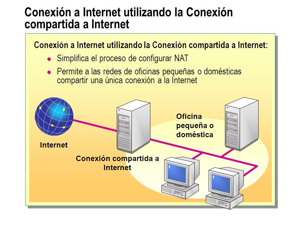 Conexión a Internet utilizando la Conexión compartida a Internet