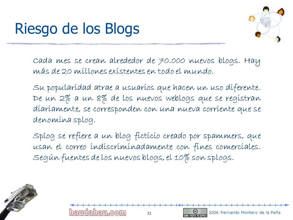 Riesgo de los Blogs Cada mes se crean alrededor de 70.000 nuevos blogs. Hay más de 20 millones existentes en todo el mundo.