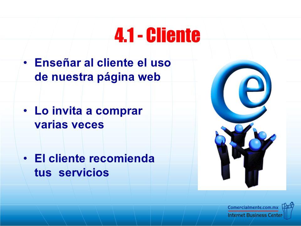 4.1 - Cliente Enseñar al cliente el uso de nuestra página web