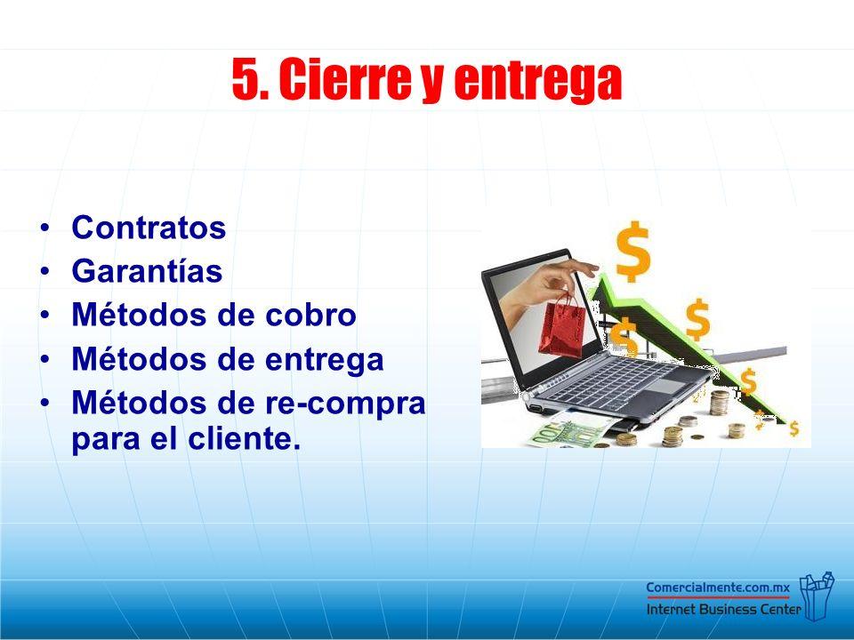 5. Cierre y entrega Contratos Garantías Métodos de cobro