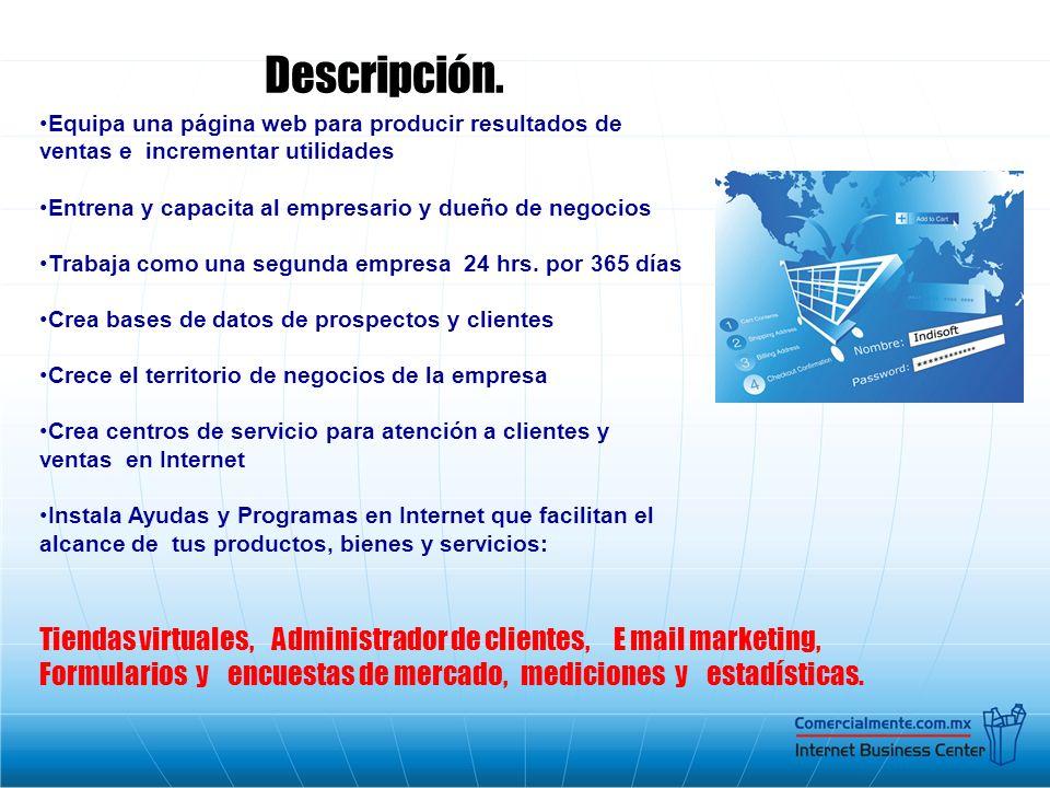 Descripción. Equipa una página web para producir resultados de ventas e incrementar utilidades.