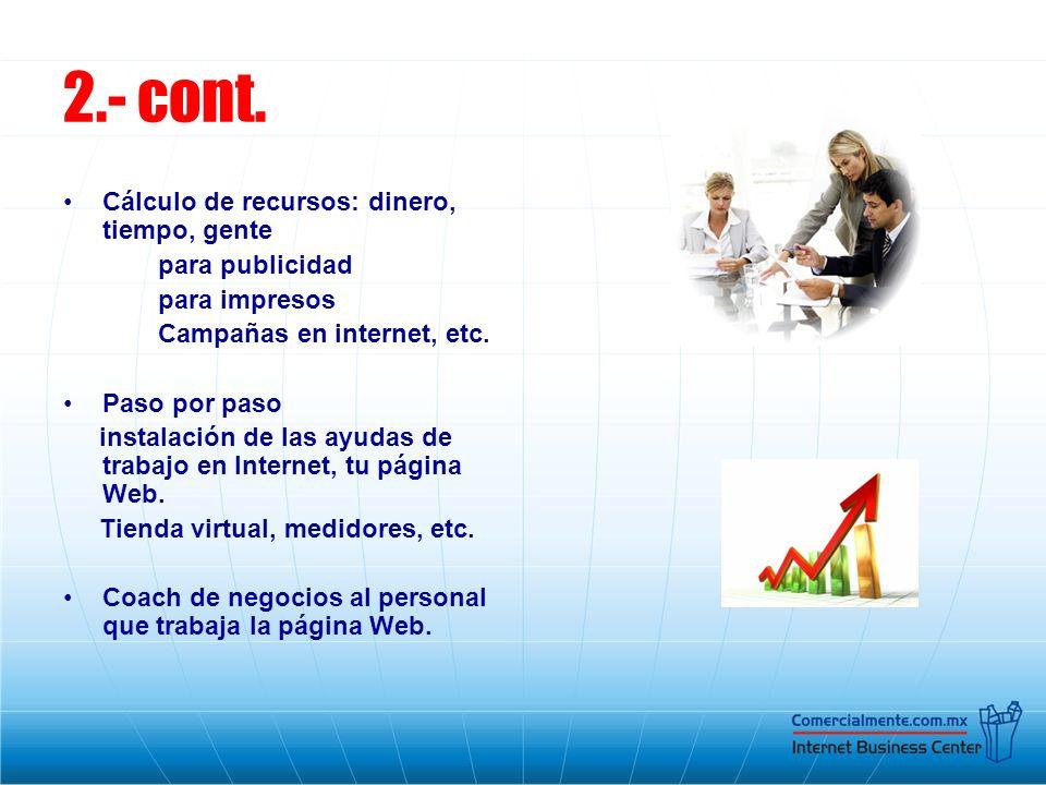 2.- cont. Cálculo de recursos: dinero, tiempo, gente para publicidad