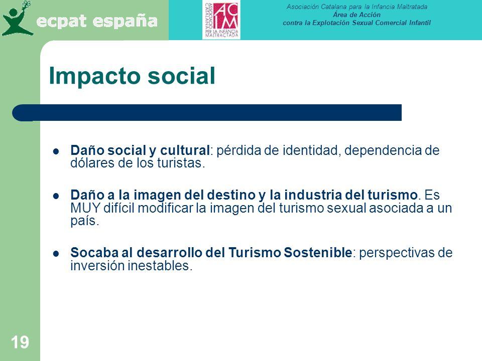 Impacto social Daño social y cultural: pérdida de identidad, dependencia de dólares de los turistas.