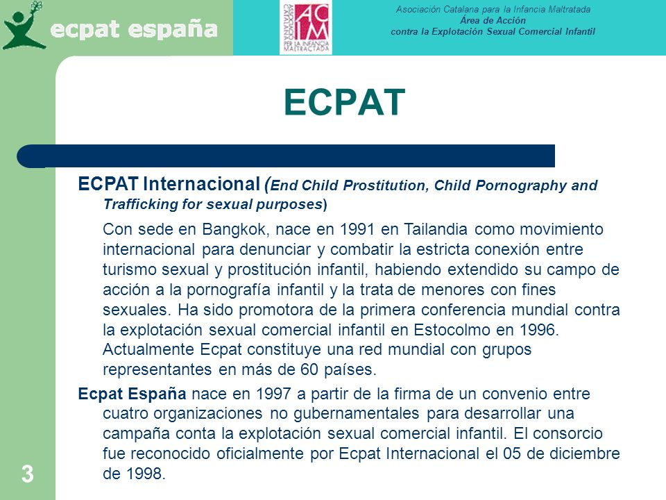 ECPAT ECPAT Internacional (End Child Prostitution, Child Pornography and Trafficking for sexual purposes)