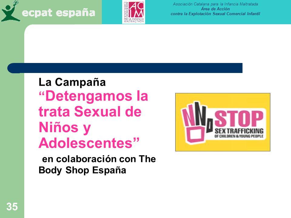 La Campaña Detengamos la trata Sexual de Niños y Adolescentes en colaboración con The Body Shop España