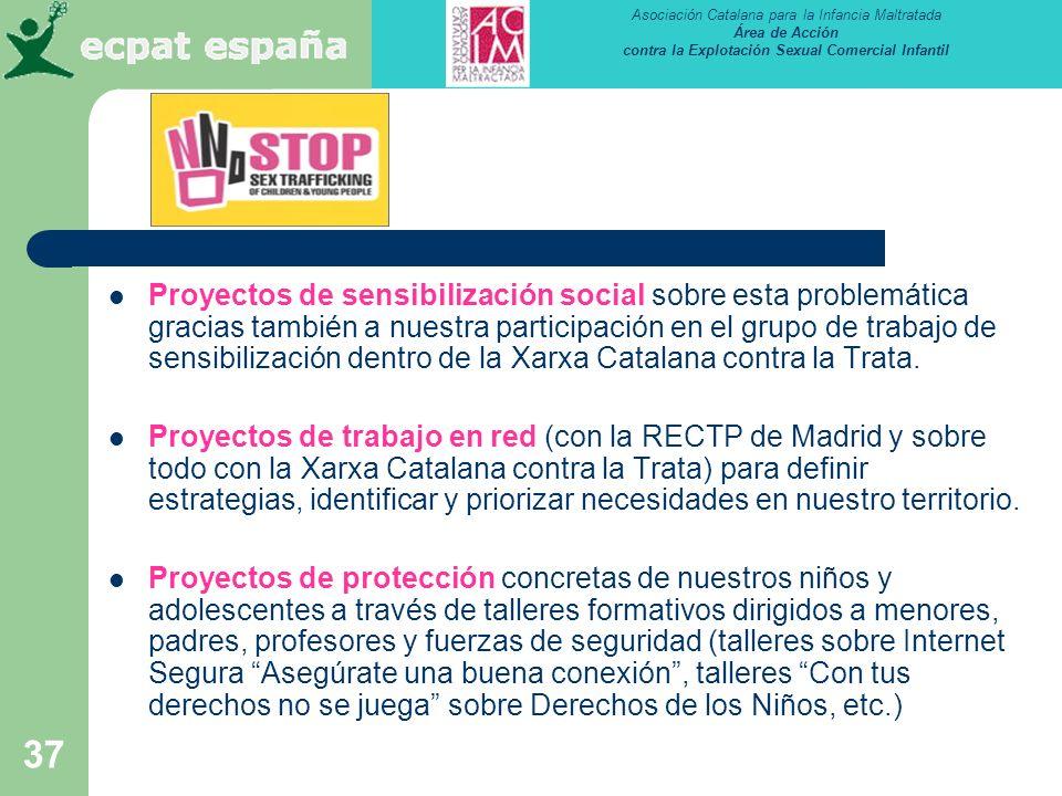 Proyectos de sensibilización social sobre esta problemática gracias también a nuestra participación en el grupo de trabajo de sensibilización dentro de la Xarxa Catalana contra la Trata.