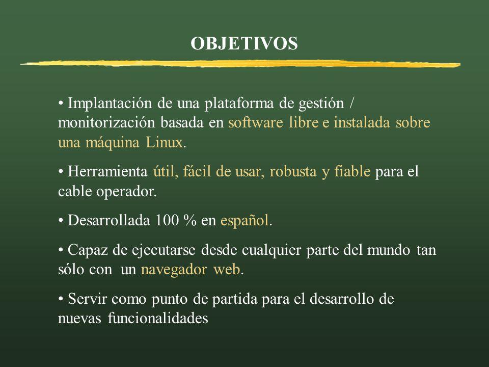 OBJETIVOS Implantación de una plataforma de gestión / monitorización basada en software libre e instalada sobre una máquina Linux.