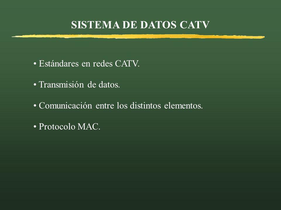 SISTEMA DE DATOS CATV Estándares en redes CATV. Transmisión de datos.
