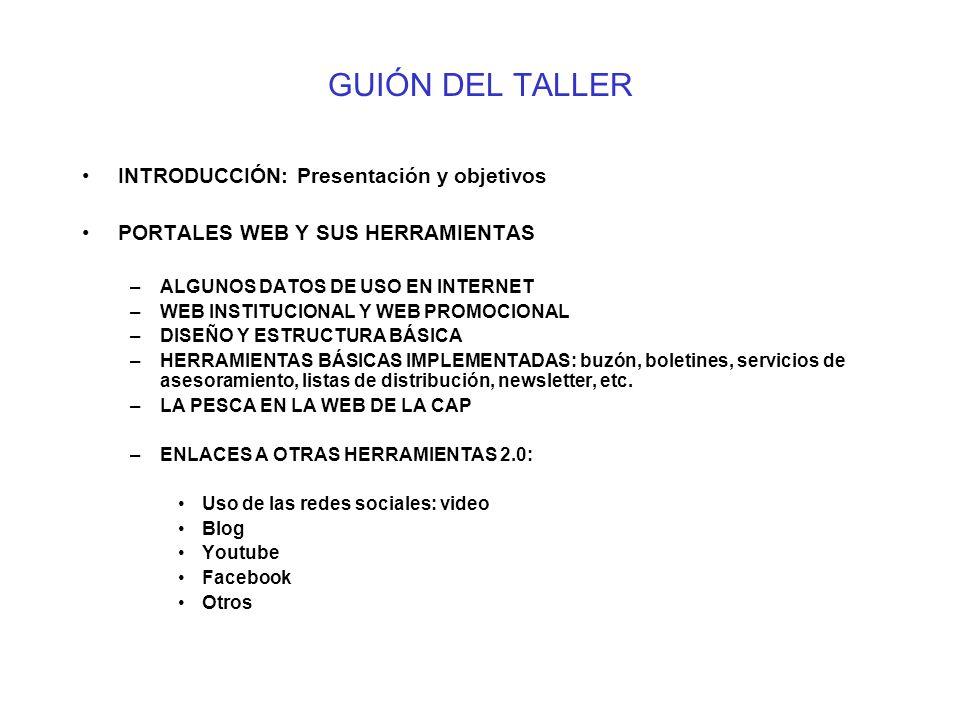 GUIÓN DEL TALLER INTRODUCCIÓN: Presentación y objetivos