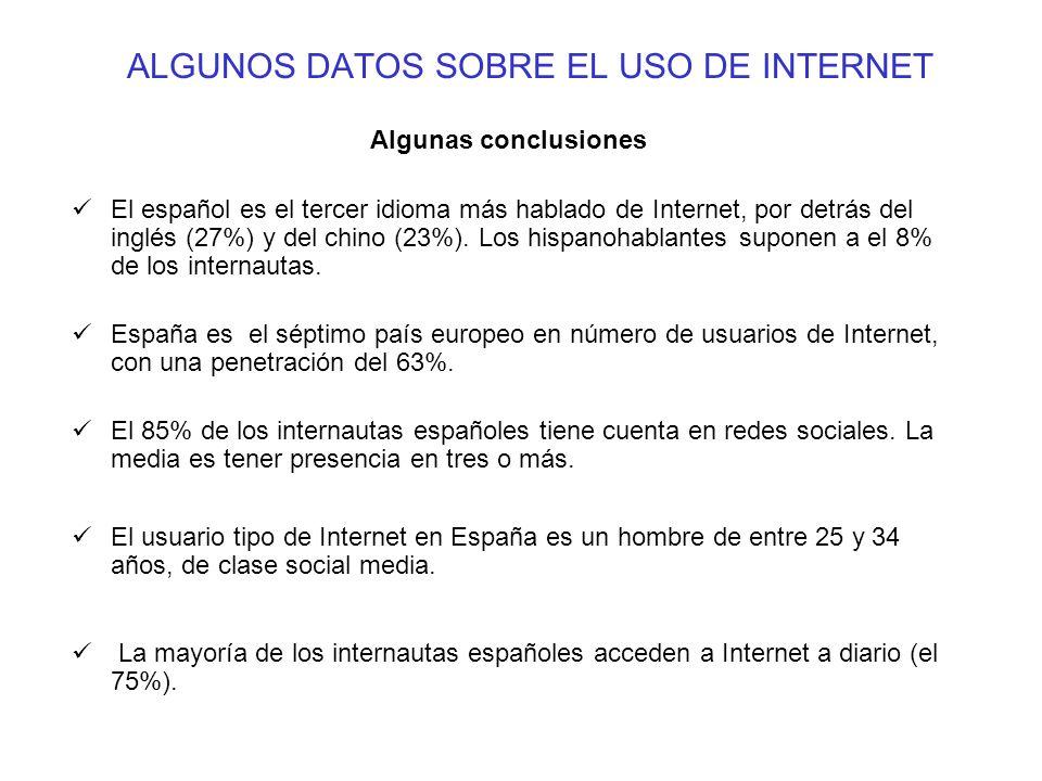 ALGUNOS DATOS SOBRE EL USO DE INTERNET
