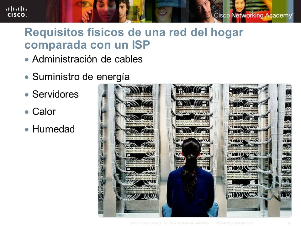 Requisitos físicos de una red del hogar comparada con un ISP