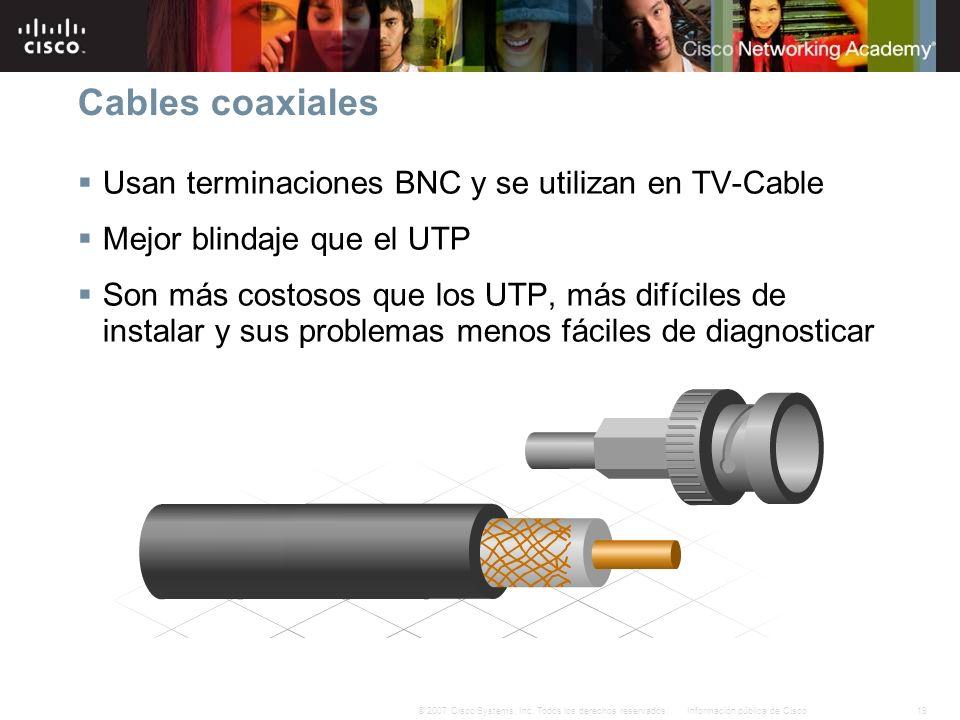 Cables coaxiales Usan terminaciones BNC y se utilizan en TV-Cable