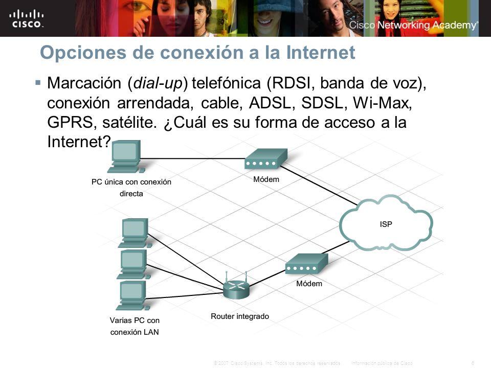 Opciones de conexión a la Internet