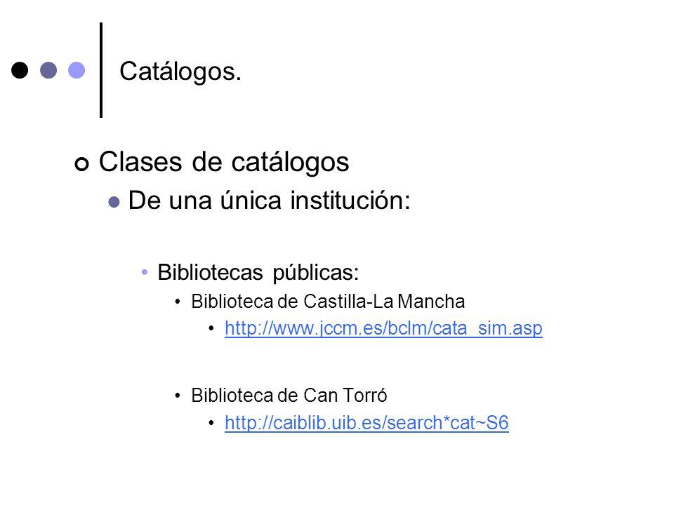Clases de catálogos Catálogos. De una única institución: