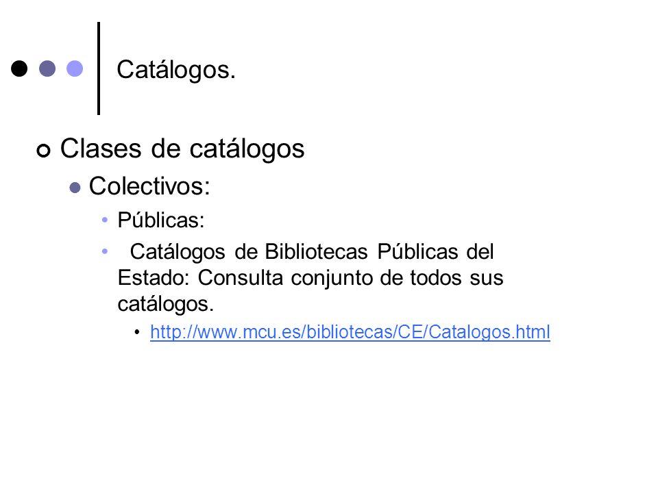 Clases de catálogos Catálogos. Colectivos: Públicas: