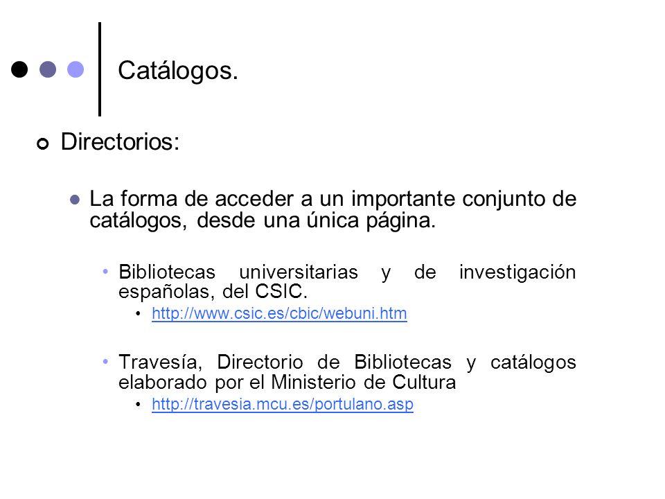 Catálogos. Directorios: