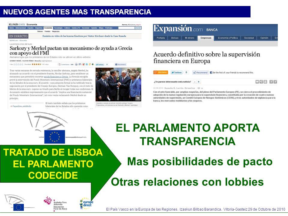 EL PARLAMENTO APORTA TRANSPARENCIA Mas posibilidades de pacto