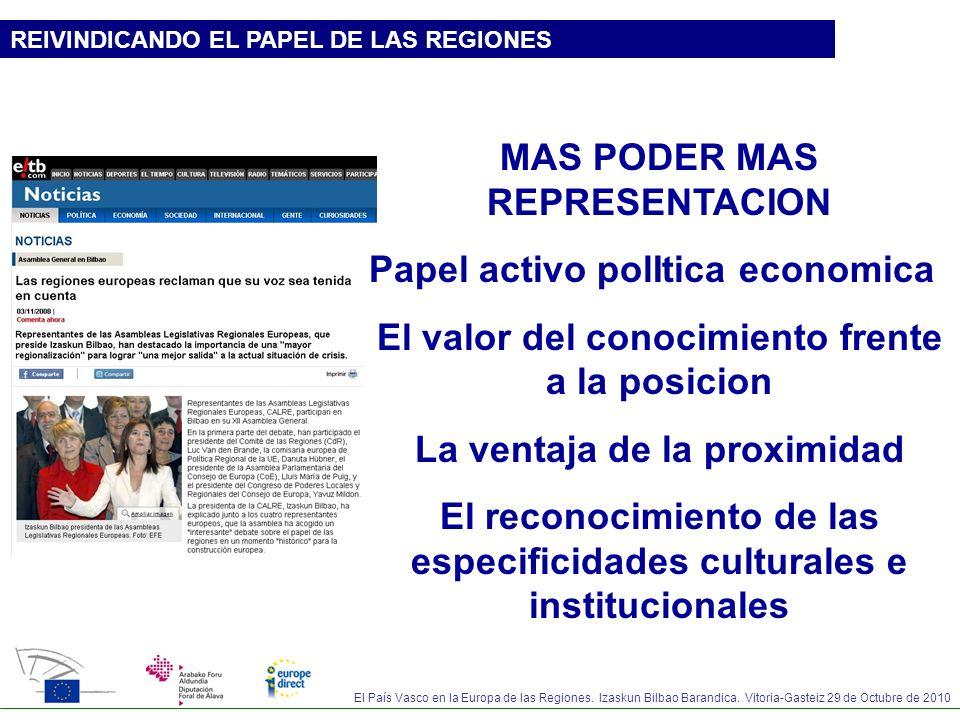 MAS PODER MAS REPRESENTACION Papel activo polItica economica