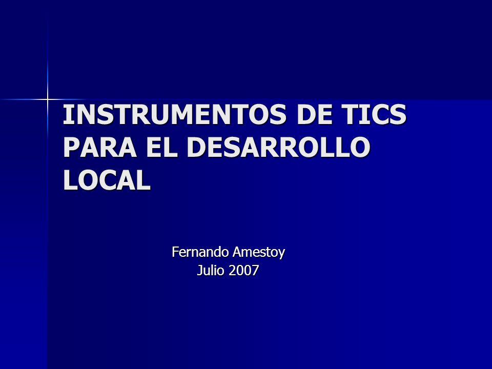 INSTRUMENTOS DE TICS PARA EL DESARROLLO LOCAL