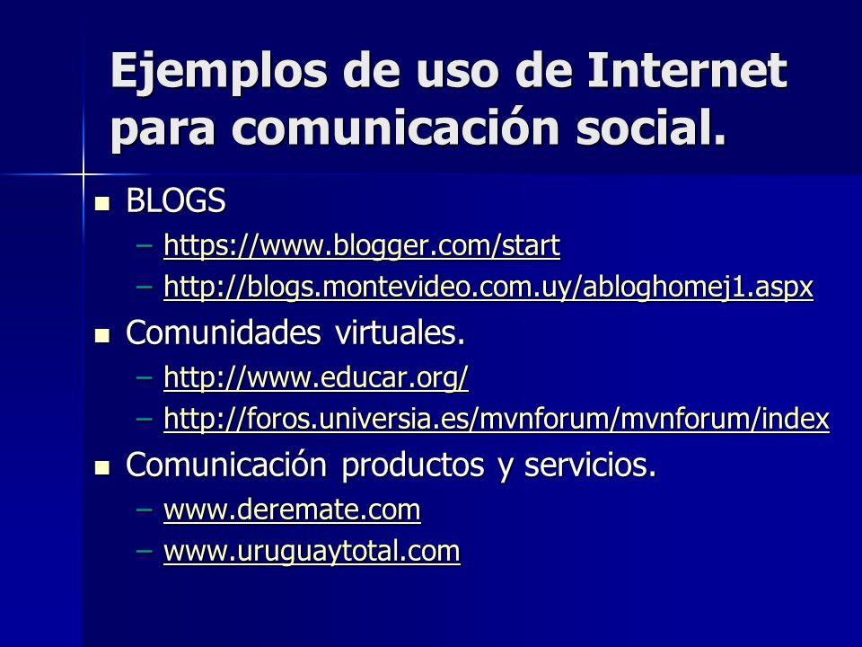 Ejemplos de uso de Internet para comunicación social.