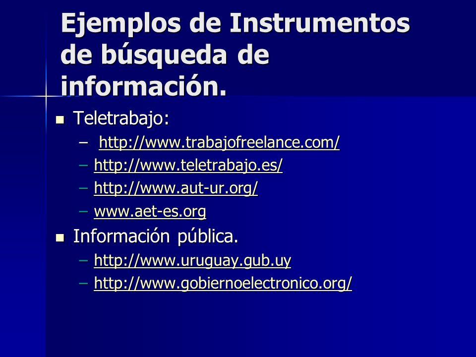 Ejemplos de Instrumentos de búsqueda de información.