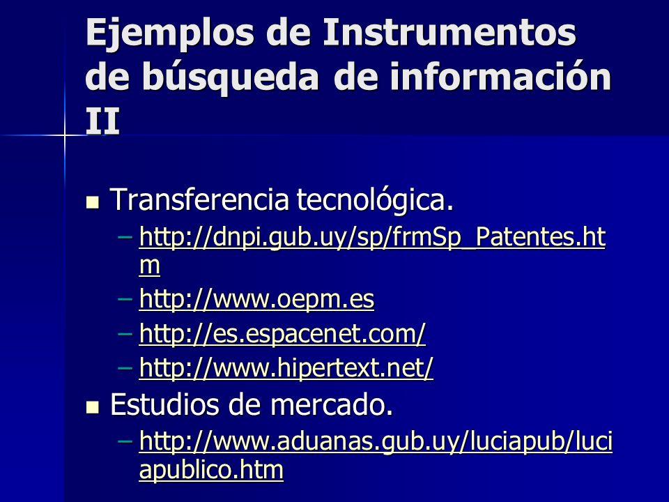 Ejemplos de Instrumentos de búsqueda de información II