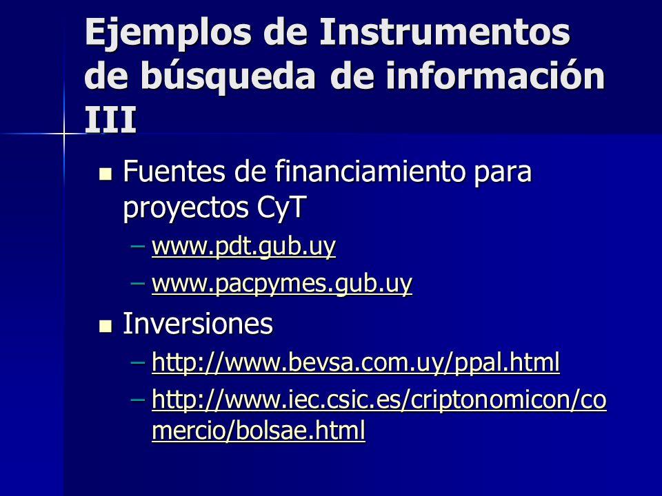 Ejemplos de Instrumentos de búsqueda de información III