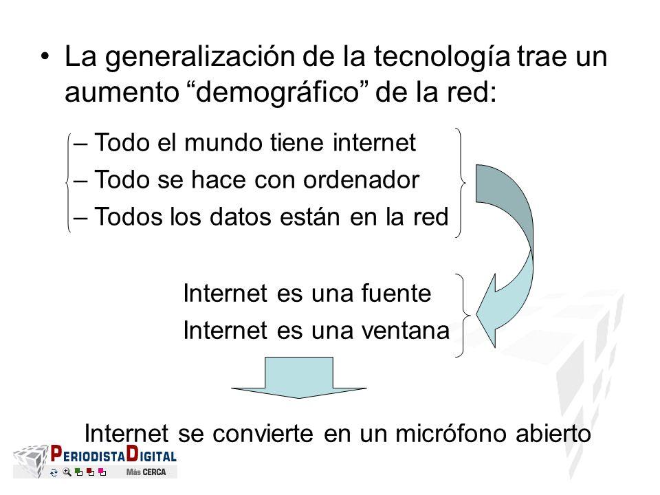 La generalización de la tecnología trae un aumento demográfico de la red: