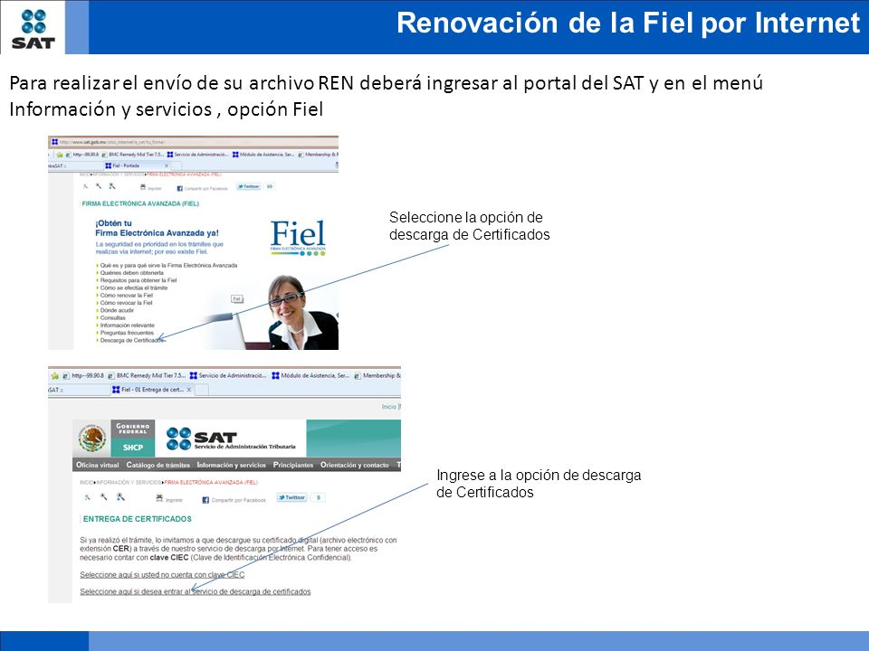 Para realizar el envío de su archivo REN deberá ingresar al portal del SAT y en el menú Información y servicios , opción Fiel