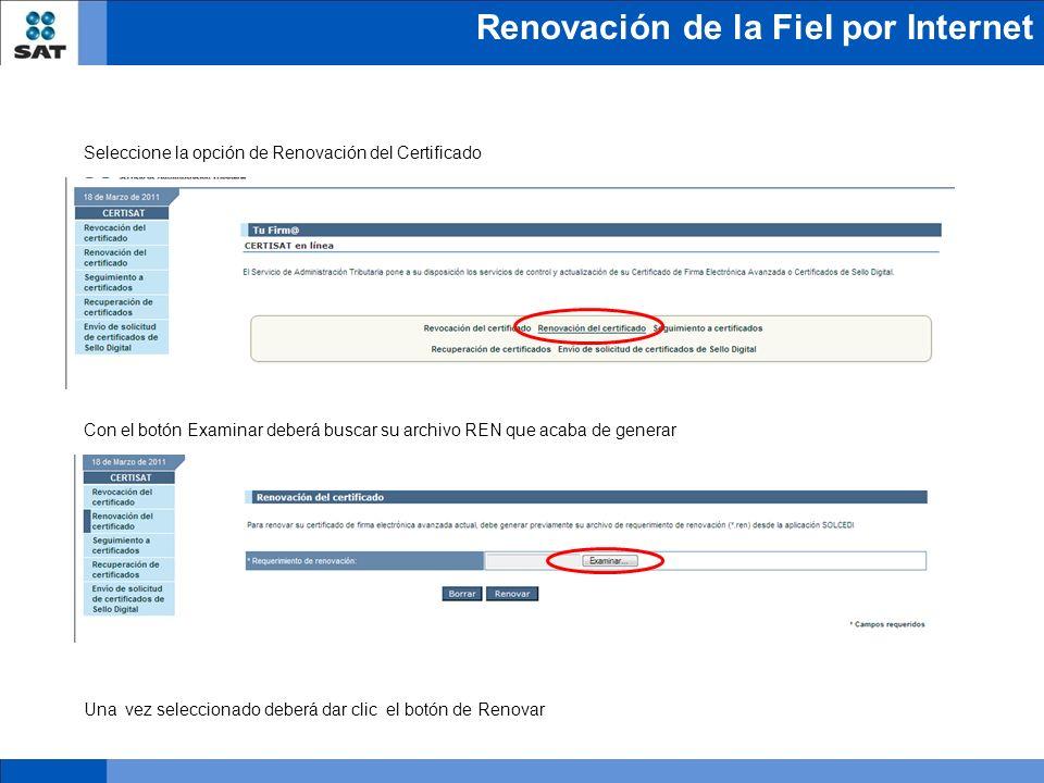 Seleccione la opción de Renovación del Certificado