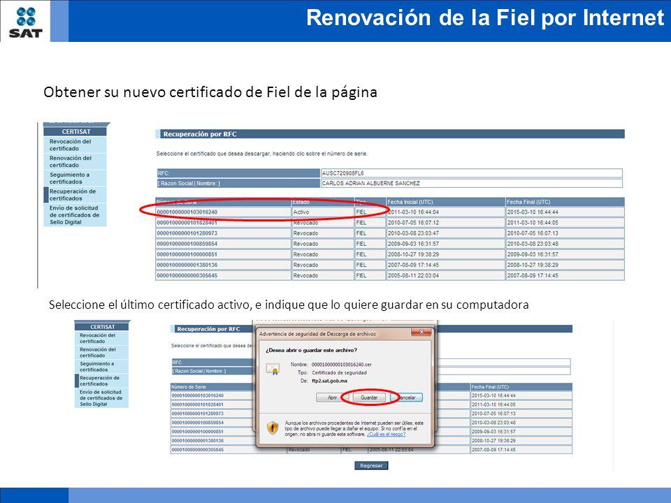 Obtener su nuevo certificado de Fiel de la página