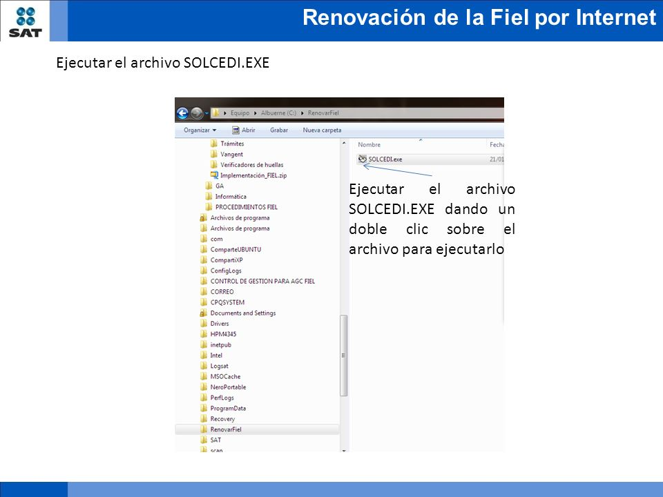 Ejecutar el archivo SOLCEDI.EXE