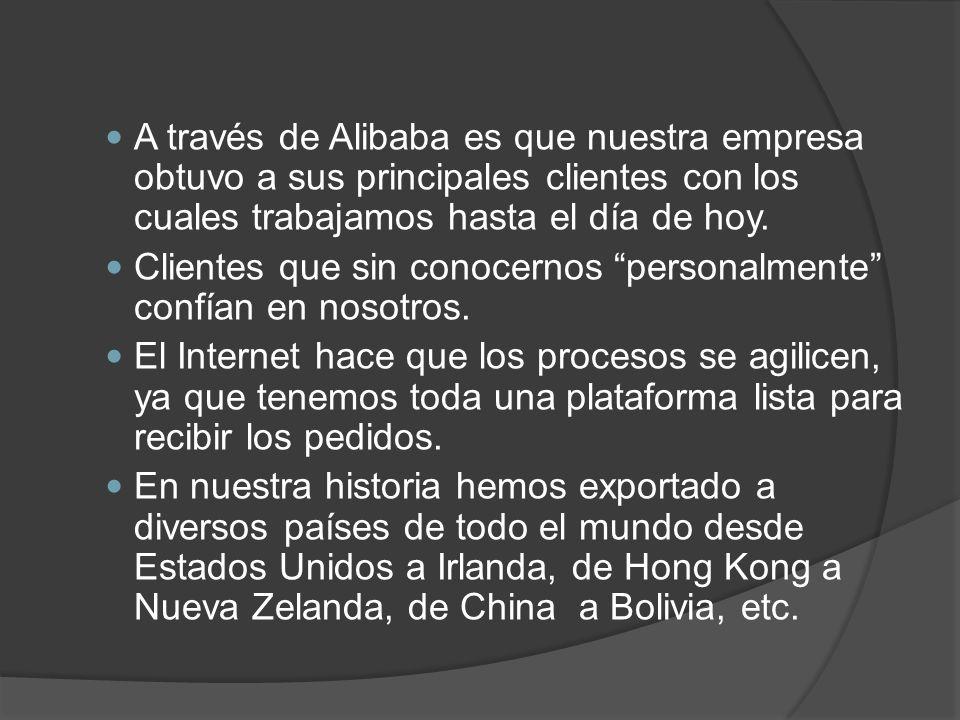 A través de Alibaba es que nuestra empresa obtuvo a sus principales clientes con los cuales trabajamos hasta el día de hoy.