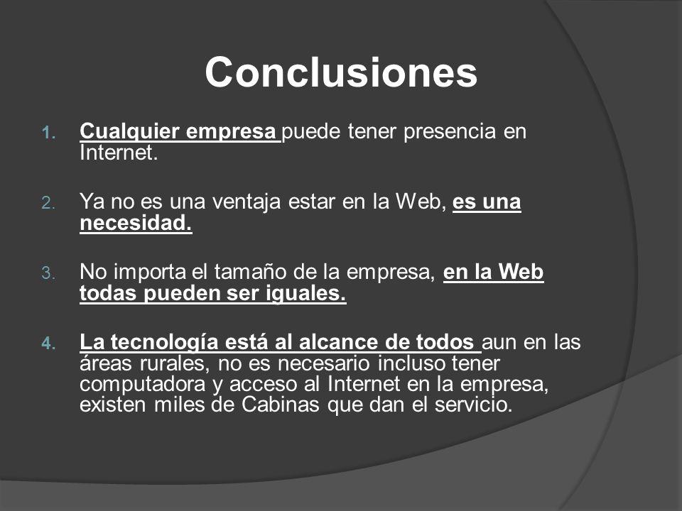 Conclusiones Cualquier empresa puede tener presencia en Internet.